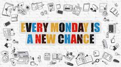 Every Monday is a New Chance on White Brick Wall - stock illustration