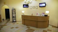 Reception desk in spa cente Stock Footage