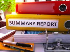 Yellow Office Folder with Inscription Summary Report - stock illustration