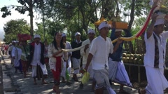 People are coming to festival ceremony in Pura Besakih temple Stock Footage