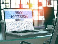 Video Production Concept on Laptop Screen - stock illustration