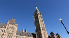 Houses of Parliament showing Peace Tower in Ottawa, Canada. Stock Footage