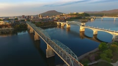 Aerial Sunrise Flying Over Chattanooga Tennessee - stock footage