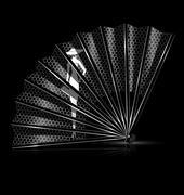 white lace fan - stock illustration