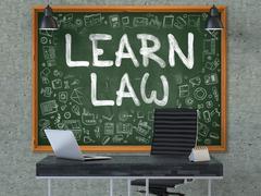 Learn Law - Hand Drawn on Green Chalkboard - stock illustration