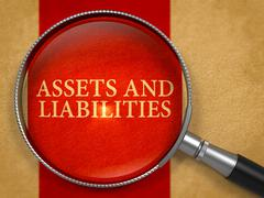 Assets and Liabilities through Magnifying Glass Stock Illustration