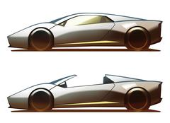Car Body Mid-Engine Coupe & Roadster - stock illustration