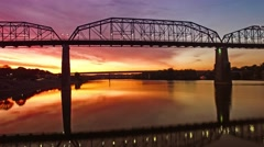 Aerial Sunrise Flying Over Chattanooga Tennessee Stock Footage