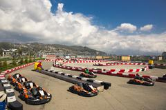 SOCHI, RUSSIA - MARCH 30, 2016: View of a go-kart track Sochi Olympic park Stock Photos