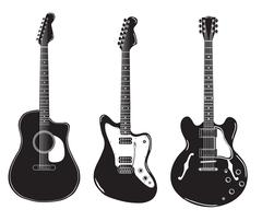 Set of acoustic guitars and electric guitars. Stock Illustration