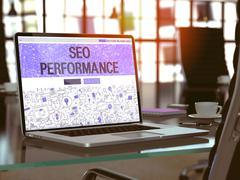 Stock Illustration of SEO Performance Concept on Laptop Screen