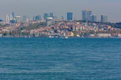 ISTANBUL, TURKEY - APRIL 27, 2015: Skyscrapers of Istanbul from Bosphorus Stock Photos