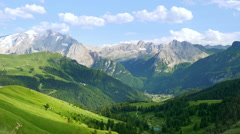 Aerial view to a beautiful alpine valley in the South Tyrol, Italy Stock Footage