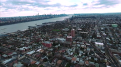 Cliffside Park NJ Aerial View Traveling Towards Downtown Mahattan Stock Footage