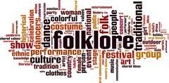 Folklore word cloud - stock illustration