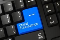 Blue Online Consultation Button on Keyboard - stock illustration