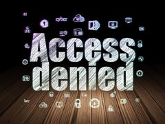 Protection concept: Access Denied in grunge dark room - stock illustration