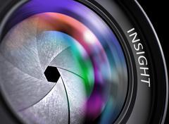 Camera Photo Lens with Inscription Insight - stock illustration