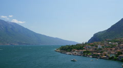 Aerial view to Limone Sul Garda pier in the Garda lake Stock Footage