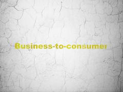 Business concept: Business-to-consumer on wall background - stock illustration