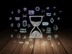 Time concept: Hourglass in grunge dark room Stock Illustration