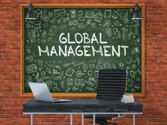 Global Management - Hand Drawn on Green Chalkboard - stock illustration