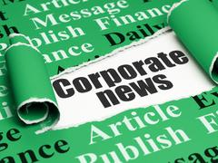 News concept: black text Corporate News under the piece of  torn paper - stock illustration