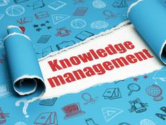 Learning concept: red text Knowledge Management under the piece of  torn paper - stock illustration