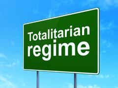 Politics concept: Totalitarian Regime on road sign background - stock illustration