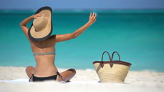 Woman Taking Selfie Sunbathing At Beach - Summer Travel Holidays Concept Stock Footage