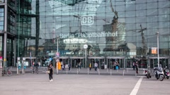Time-lapse: front view of Berlin Hauptbahnhof, main railway station in capital Stock Footage