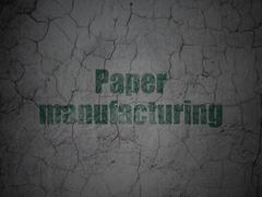 Industry concept: Paper Manufacturing on grunge wall background - stock illustration