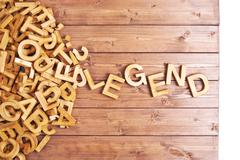 Word legend made with wooden letters - stock photo