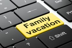 Tourism concept: Family Vacation on computer keyboard background Stock Illustration