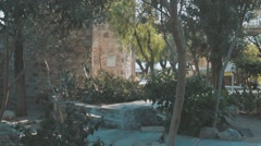Steadycam Shot of Middle-Eastern Castle gardens. Stock Footage