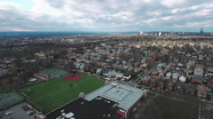 Cliffside Park NJ Descending Over School Stock Footage