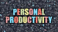 Personal Productivity in Multicolor. Doodle Design - stock illustration