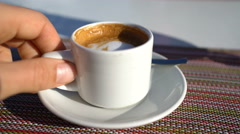 Cortado - Typical Spanish coffee in espresso cup Stock Footage