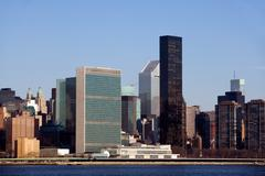 Buildings along east river - stock photo