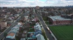Cliffside Park NJ Aerial View Of School & Buildings Stock Footage