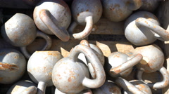 Kettlebell background - Many kettlebells weights for weight strength training Stock Footage