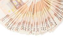 Fifty euro bank notes arranged like a fan - stock photo