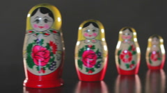 Vintage toy/Handmade nesting dolls/Russian wooden toy/Traditional doll of Russia - stock footage