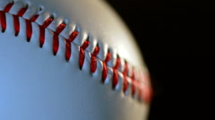 Baseball/White base ball ball with red seam closeup/Sport equipment Stock Footage