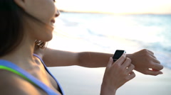 Smartwatch Close up On Active Woman - Smart Watch Wearable Technology - stock footage