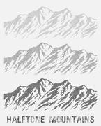 Halftone mountain range set. Piirros