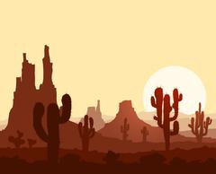 Sunset in stone desert  with cactuses and mountains. Piirros
