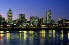 Montreal skyline and la chine canal Stock Photos