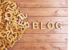 Word blog made with wooden letters - stock photo