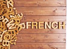 Word french made with wooden letters Stock Photos